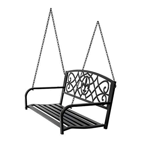 Clever Market Swing Chair Durable Outdoor Steel Porch Swing Garden Seat Elegant Metal Patio Fleur De Lis Hanging Bench Black