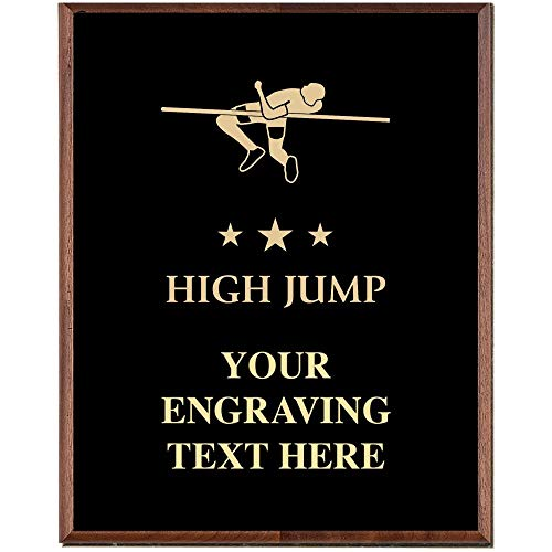 Field Award Plaque - High Jump Plaques, Custom Engraved Track and Field Trophy Plaque Award, Great Customizable High Jump Awards Prime