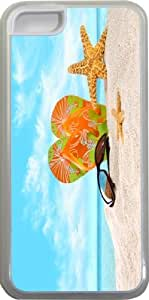 Rikki KnightTM Orange Green Flip-Flops In The Sand With Starfish Design iPhone 5c Case Cover (Clear Rubber with bumper protection) for Apple iPhone 5c