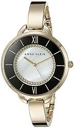 Anne Klein Women's AK/2148MPGB Glitter Accented Gold-Tone Bangle Watch