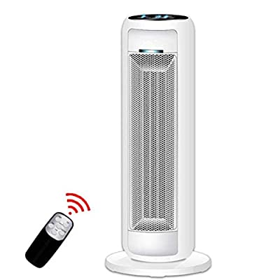 FC-Winter Ceramic Space Heater-Tower with Remote Control, Digital Thermostat, Timer, Large Temperature Display Power-Saving Heating Furnace 2000W White