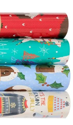 Holly Wrapping Paper 4pack 8M Rolls of Christmas Gift Wrap Traditional Christmas Pudding Larma