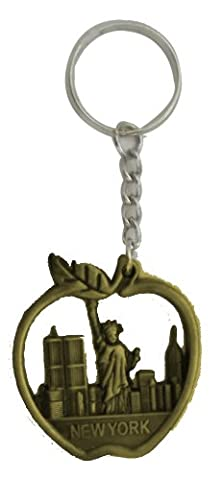 New York Keychain - Metal Brass Color, Apple Shaped With Statue of Liberty Souvenirs , New York City - Apple Shaped Key