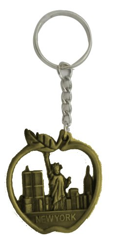 New York Keychain - Metal Brass Color, Apple Shaped With Statue of Liberty Souvenirs , New York City Souvenirs