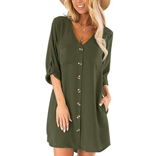QueenMM Women's Summer Casual Tshirt Dresses Solid Henley V-Neck Tunics Self-tie Blouses Mini Dresses