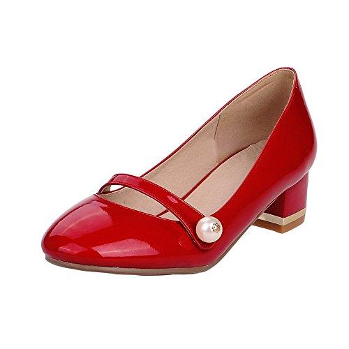 Allhqfashion Womens Ronde Gesloten Teen Pull-on Pu Stevige Lage Hakken Pumps-schoenen Rood