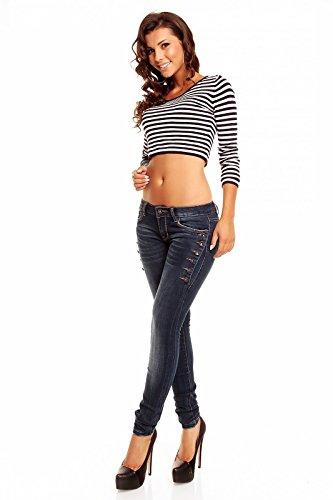 Stretch 40 Con Jeans Botones Mujer Lateral Laulia Vaquero Rqg7BF