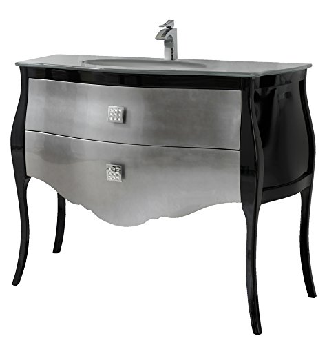 Paris Master Dresser - Paris 44-inch Bathroom Vanity Cabinet Set, Silver Gray Optical and Tempered Glass Single Sink, Black-silver High Gloss Lacquered, Glass Top, Floor Mounted, Solid Wood, Made in Spain (European Brand)