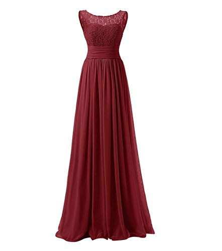 KA Beauty Women\'s Long Prom Dress Lace Chiffon Evening Dresses ...