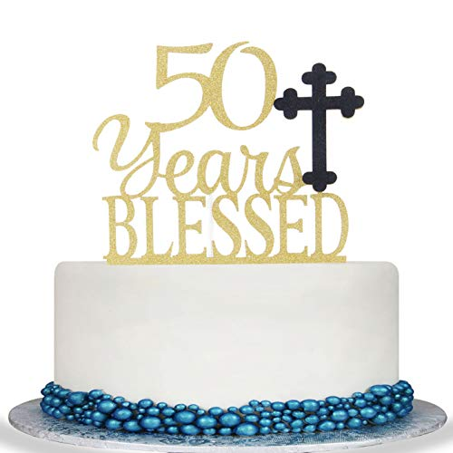 50 Year Blessed Cake Topper - Cheer to 50 Years Cake Topper -Gold Glitter Hello 50-50th Birthday/Wedding Anniversary Party Decoration