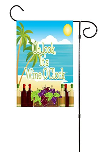 "Unique Textile Printing It's Wine O'Clock Beach Garden Flag 12""x18"" ()"