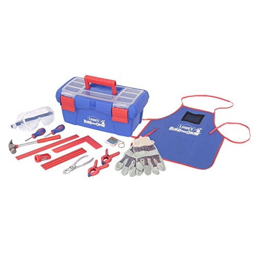 Lowe's Build and Grow 16 Piece Child's Tool Set with Blue Toolbox - Bonus Gloves - Kids size tools for kids size (Child Size Tools)