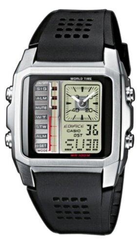 Casio Edifice - Reloj analógico - digital de caballero de cuarzo con correa de resina negra (cronómetro, alarma, luz) - sumergible a 100 metros: Amazon.es: ...