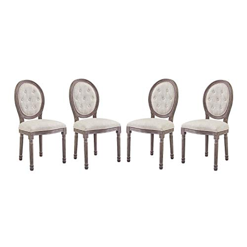 Modway EEI-3470-BEI Arise Dining Side Chair Upholstered Fabric Set of 4, Four, Beige