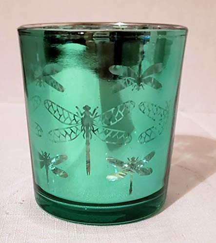 - Yankee Candle New Crackle Glass Electroplate Teal Twightlight Flight Dragonfly Votive Candle Holder