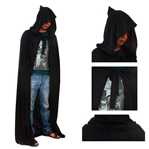 HuntGold Black Halloween Costume Theater Prop Death Hoody Cloak Devil Long Tippet Cape