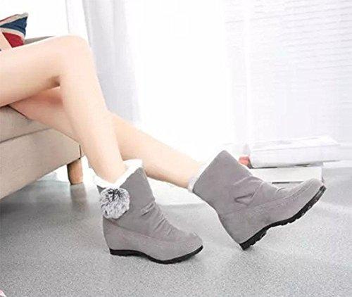 le femmes d'étudiant les cachemire KUKI l'appartement mat bottes les chaussures Les augmenté des l'épaississement bottes des les avec chaussures de femmes bottes les gray chaus neige plus les dans qBFRtw6Rg