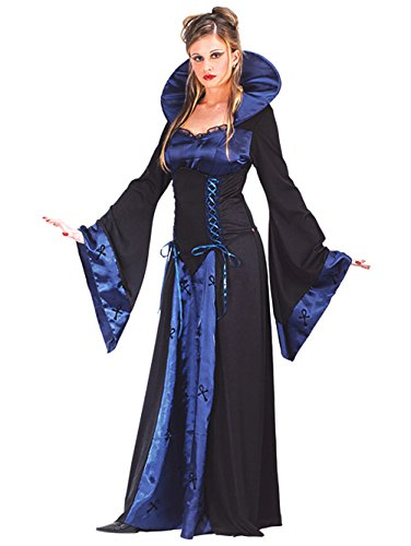 Blue Vampiress Costume Sexy Sorceress Classic Witch Black Blue Gown Sizes: Small-Medium ()