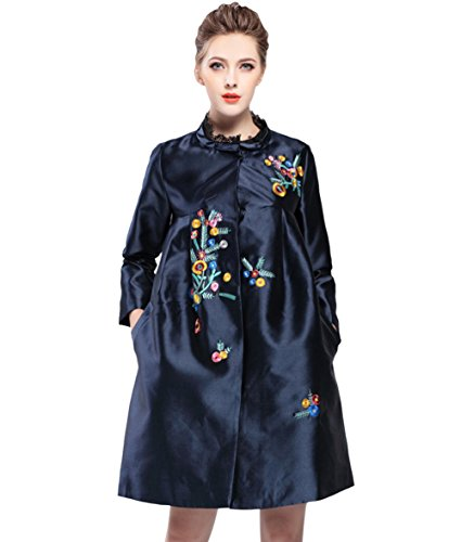 Women Lady Mandarin Collar Embroidered A-Line Trench Coat Jacket Navy Blue ()