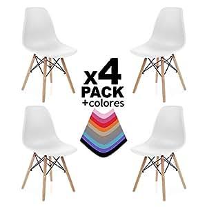duehome Pack de 4 sillas Tower Wood, sillas nordicas, 47 x 56 x 81 cm, Blanco
