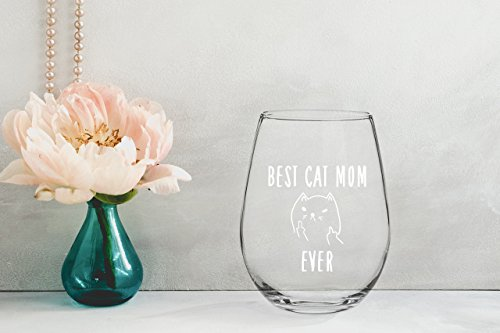 Best Cat Mom Ever Funny Wine Glass 15oz - Unique Christmas Gift Idea for Cat Lovers - Perfect ...