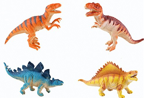 [PerPor 12pcs Sounded Hollow Assorted Plastic Dinosaurs Toys Fingures Sets(4.7