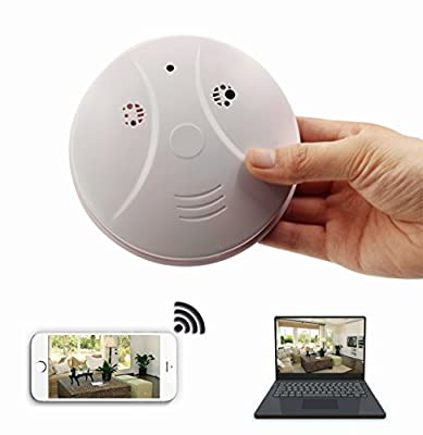 DVR WiFi Hidden Camera Smoke Detector Nanny Spy Cam With 90° Wide View Angle and Motion Detection for Home Security & Surveillance Free Apps for iOS/Android/PC/Mac