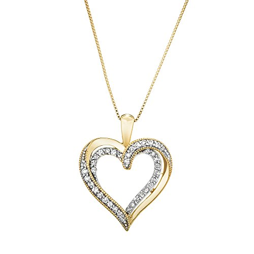 "Brilliant Designers 10K Yellow Gold & 0.22 CTTW Diamond Heart Pendant with 10 KT 18"" (10k Gold Diamond Heart Pendant)"
