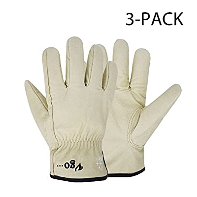 "Vgo Glove Lined Pigskin Leather Work and Driver Gloves, For Heavy Duty/Truck Driving/Warehouse/Gardening/Farm (3 Pairs, Cream, Size 11""/L and 11.5""/XL)"