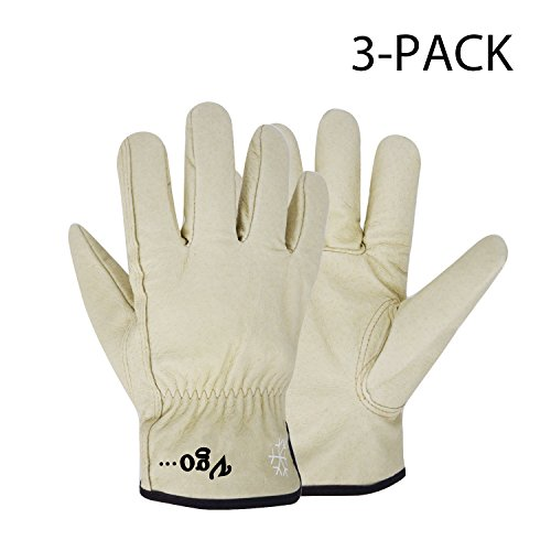 Vgo Glove Lined Pigskin Leather Work and Driver Gloves, For Heavy Duty/Truck Driving/Warehouse/Gardening/Farm (3 Pairs, Cream, Size 11
