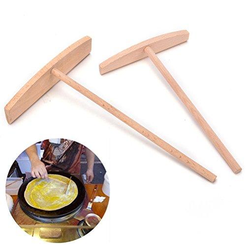 2 Pcs Crepe Maker Pancake Batter Wooden Spreader Stick Home Kitchen Tool Kit Diy Use 2 (Mini Crepe Maker)
