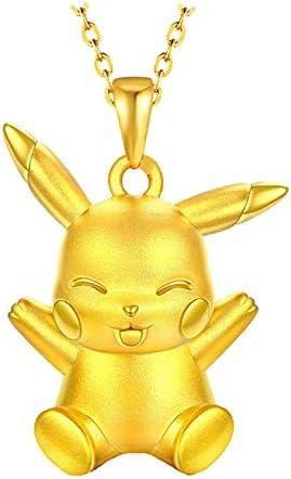MSTOT Colgante De Oro Pokemon Pikachu Cheers, Colgante De Cobre Chapado En Oro