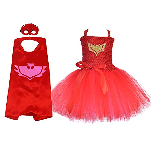 AQTOPS Kids Supergirl Costumes Halloween Hero Tutu Dress Set Large Red]()