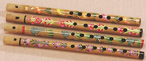 Hand Painted Bamboo Carved Flute Been Bansari Traditional Recorder Indian Music Instrument Party Favor Music Gift ()