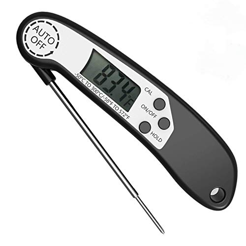 Instant Read Meat Thermometer For Cooking And Grill, CUDNY Digital Food Thermometer Electronic Thermometer Cooking Thermometer BBQ Meat Thermometer with Collapsible Internal Probe for Meat Kitchen