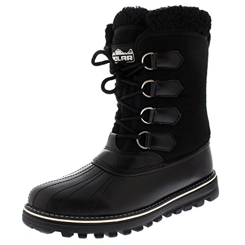 Polar Products Womens Warm Duck Winter Rain Fleece Snow Waterproof Mid Calf Boots Black Textile LK2Wv