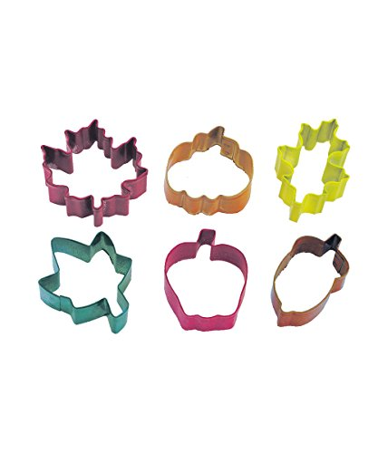 R&M International 1870 Mini Autumn Leaf Cookie Cutters, Apple, Pumpkin, Acorn, Oak, Ivy, Maple, 6-Piece Set -