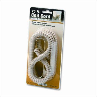 Softalk Tangle Free Telephone Twisstop Cord - for Phone - 25 ft - 1 Pack - 1 x RJ-11 Male Phone - 1 x RJ-11 Male Phone - Ivory
