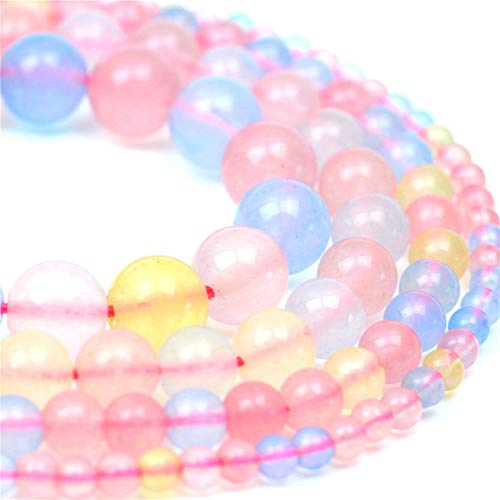 Oameusa 6mm Natural Colored Chalcedony Beads Morgan Stone Round Smooth Beads DIY Materials Bracelet Necklace Earrings Making Jewelry Agate Beads for Jewelry Making 15