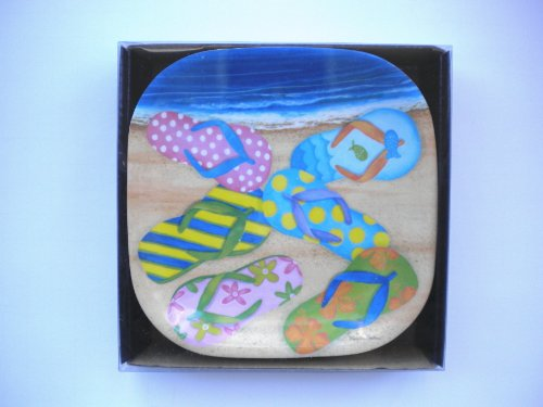 Beach Flip Flops Melamine Plastic Appetizer Snack Cocktail Plates Boxed Set of Six