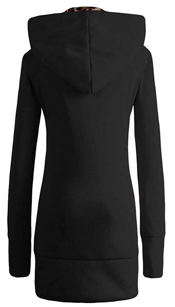 Pcutrone Women Leopard Casual Pocket Fleece Hoody Zip Midi Coat Jacket