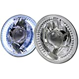 "UNIVERSAL 7"" ROUND CHROME WHITE LED HALO RIMS PROJECTOR HEAD LIGHTS LAMPS H4 CA1"