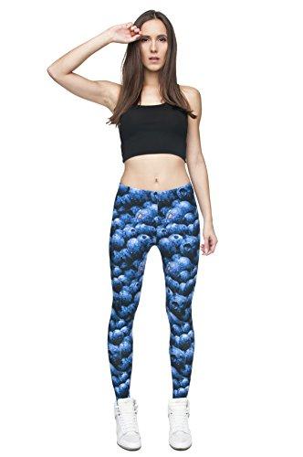 Leggings largos elásticos tupidos para mujer para fitness, entrenamiento, yoga o running Blueberries