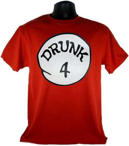 Drunk 4 Four Funny Costume Red Adult T-Shirt Tee