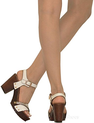 MVE Shoes Women's Ankle Strap Faux Wood Platform Chunky Heel Sandal,vint-02 White pu 10 by MVE Shoes (Image #6)
