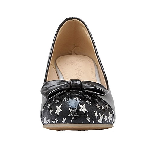 Heels Shoes Black Pull PU Toe Round Pumps Women's Kitten Solid WeenFashion On CqAtx