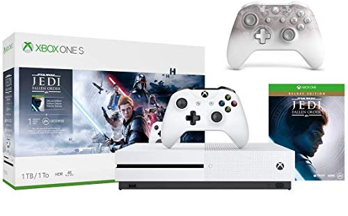 Microsoft Xbox One S 1TB Star Wars Jedi: Fallen Order Bundle + Phantom White Special Edition Wireless Controller | Include:Xbox One S 1TB Console ,Star Wars Jedi: Fallen Order, Wireless Controller