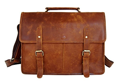 Retro Vintage Look Leather Laptop Messenger Bag Office Briefcase Work Satchel by Leftover Studio