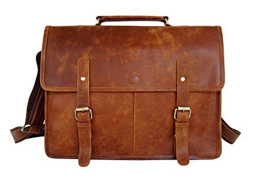 (Retro Vintage Look Leather Laptop Messenger Bag Office Briefcase Work Satchel by Leftover Studio)