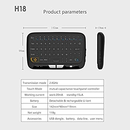 Calvas New H18 Wireless Air Mouse Full Touchpad mini keyboard 2.4GHz Gaming Touch pad For Smart TV PS3 TV Box PC Android Windows